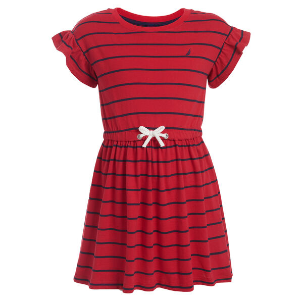 GIRL'S STRIPE KNIT JERSEY BOW DRESS (4 - 6) - Nautica Red/Orange