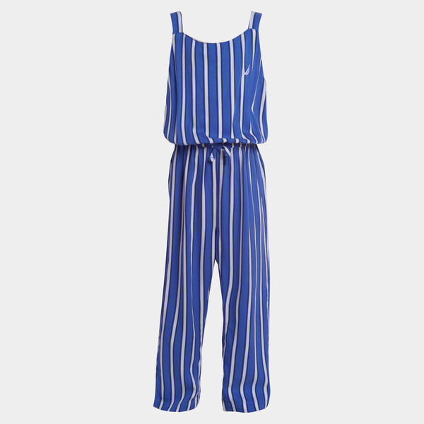 GIRLS' STRIPE WOVEN JUMPSUIT (8-20) - South Beach Aqua