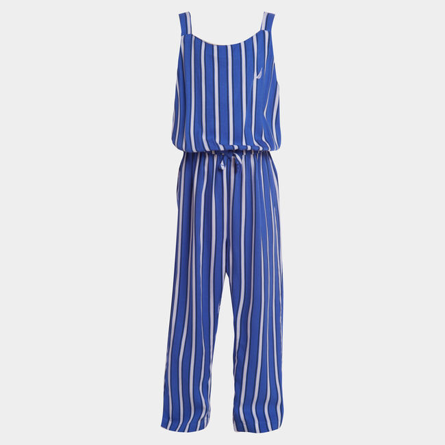 GIRLS' STRIPE WOVEN JUMPSUIT (8-20),South Beach Aqua,large