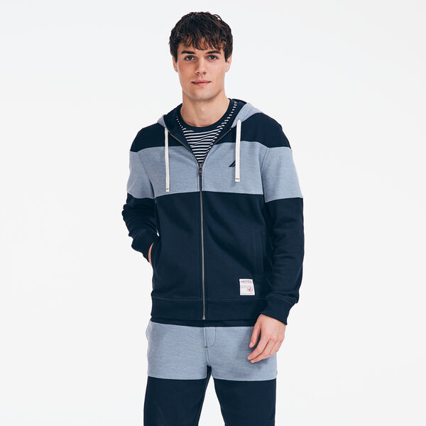 COLORBLOCK FRENCH TERRY ZIP HOODIE - Navy