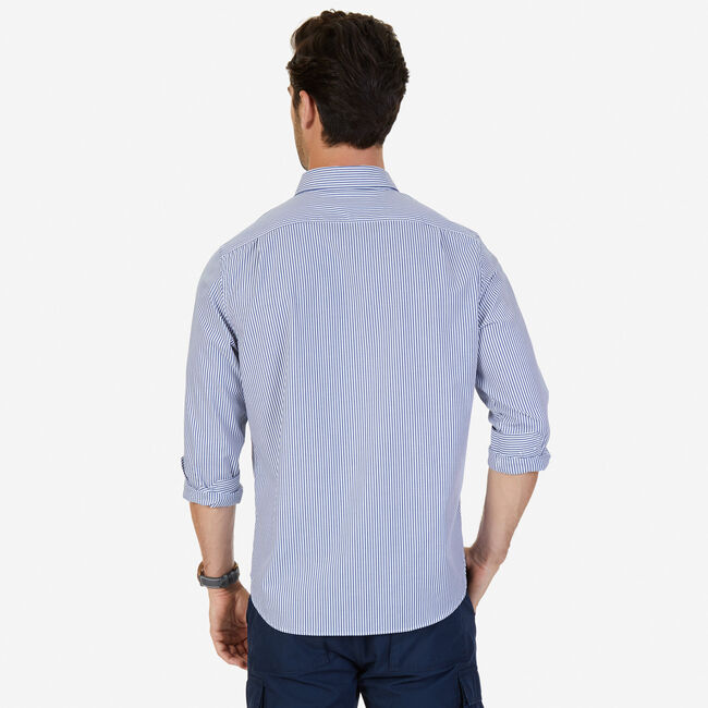 Long Sleeve Classic Fit Striped Button Down,Monaco Blue,large