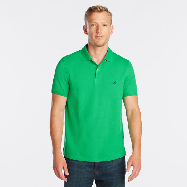 SLIM FIT MESH POLO - Floating Moss