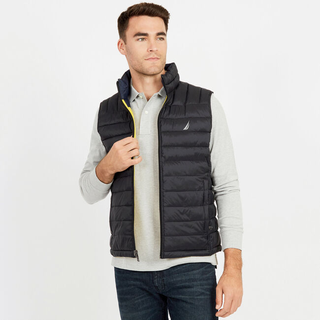 Endeavour Quilted Reversible Vest,True Black,large