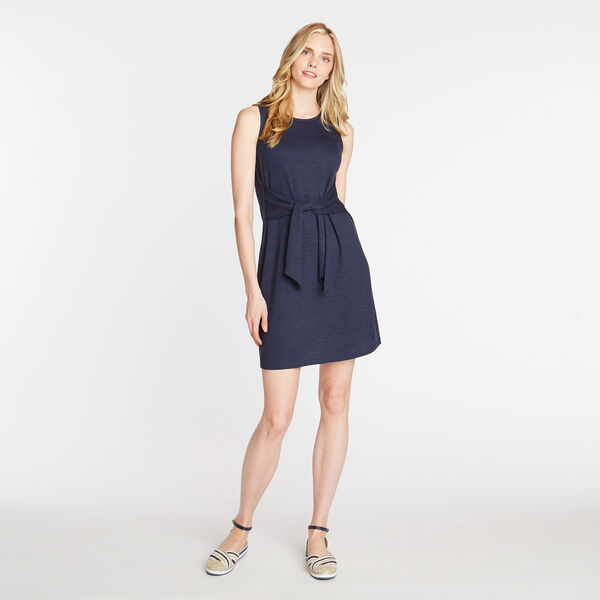 KNIT FIT & FLARE DRESS - Stellar Blue Heather