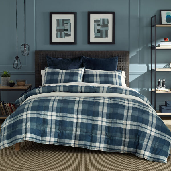 CROSSVIEW  COMFORTER & SHAM SET IN NAVY PLAID - Pure Dark Pacific Wash