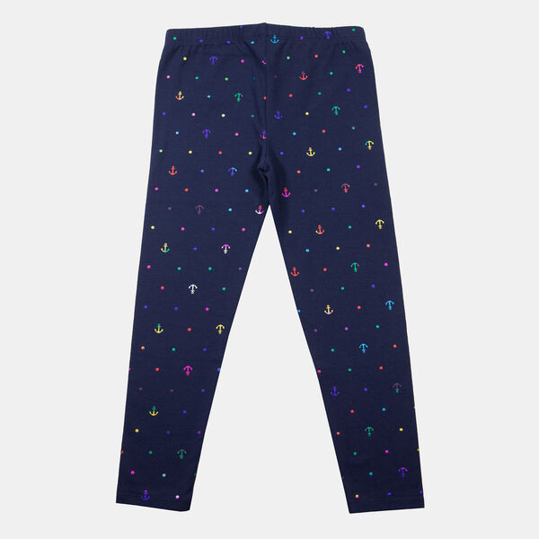 LITTLE GIRLS' RAINBOW FOIL ANCHOR PRINT LEGGING (4-7) - Navy