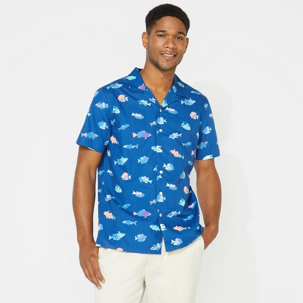 BIG & TALL FISH PRINT SHORT SLEEVE SHIRT - Clear Sky Blue