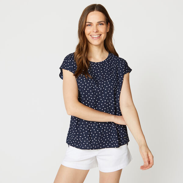 DOT PRINT DOLMAN SLEEVE TOP - Stellar Blue Heather