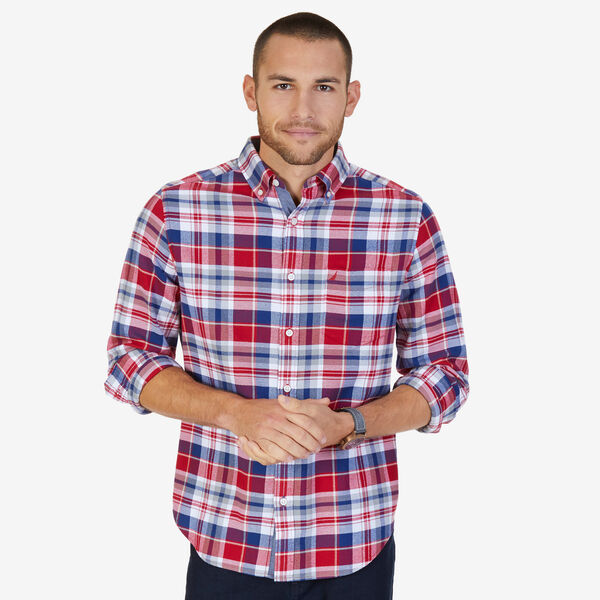 Casual Classic Fit Flannel Twill Plaid Button Down - Nautica Red