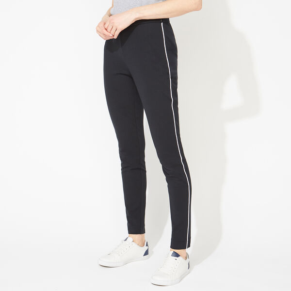 SIDE PIPING PONTE PANTS - True Black