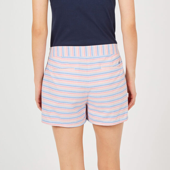 """Striped Shorts with Rope Belt - 4"""" Inseam,Bright White,large"""