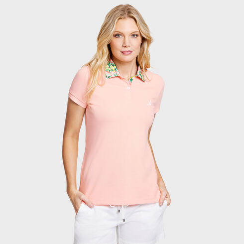 Classic Fit Hawaiian Floral Pique Polo - pink