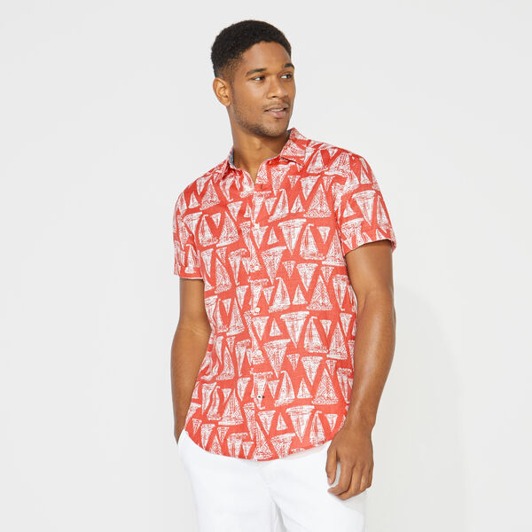 CLASSIC FIT LINEN PRINTED SHIRT - Mineral Red