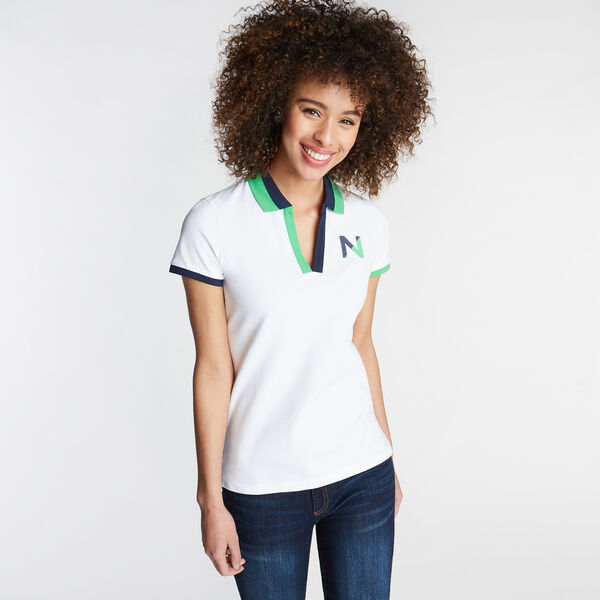 CLASSIC FIT V-NECK PIQUÉ POLO - Bright White