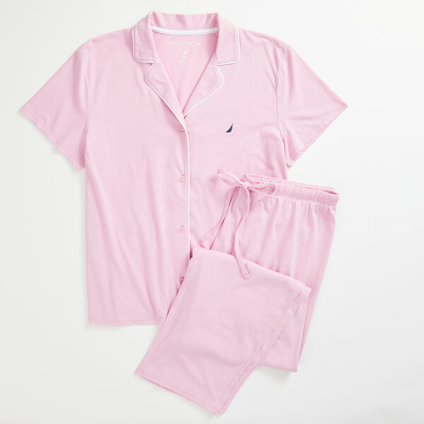 J-CLASS LOGO SHORT SLEEVE PAJAMA SET - Bow Burgundy