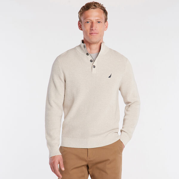 BUTTON MOCK NECK SWEATER - Oatmeal Heather