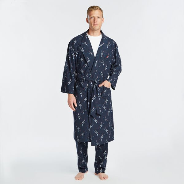 HOCKEY STICK PRINT KNIT ROBE - Navy
