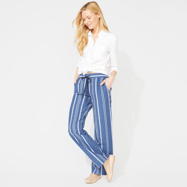 WIDE LEG STRIPE DRAWSTRING PANTS - J Navy