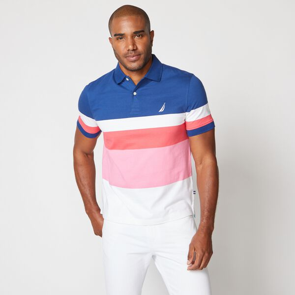 PREMIUM COTTON COLORBLOCK STRIPE POLO - Estate Blue