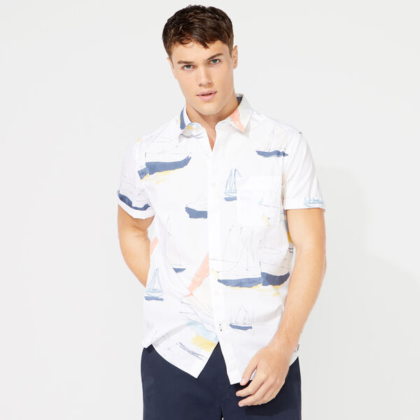 CLASSIC FIT NAUTICAL BOAT PRINTED SHIRT - Bright White