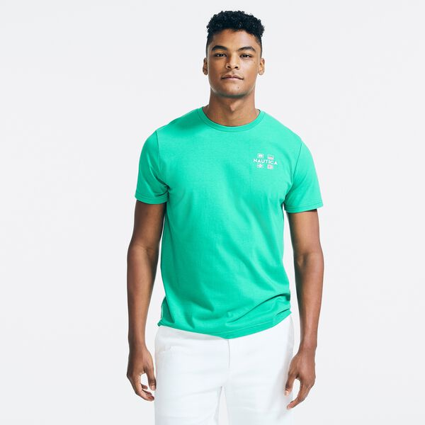 SUSTAINABLY CRAFTED YACHT CLUB GRAPHIC T-SHIRT - Dark Dill