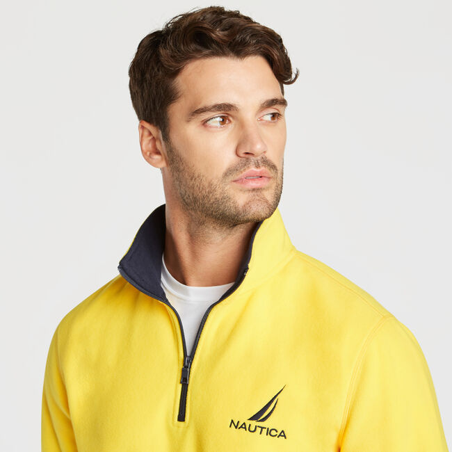 QUARTER ZIP NAUTEX FLEECE PULLOVER,Lemon Chrome,large