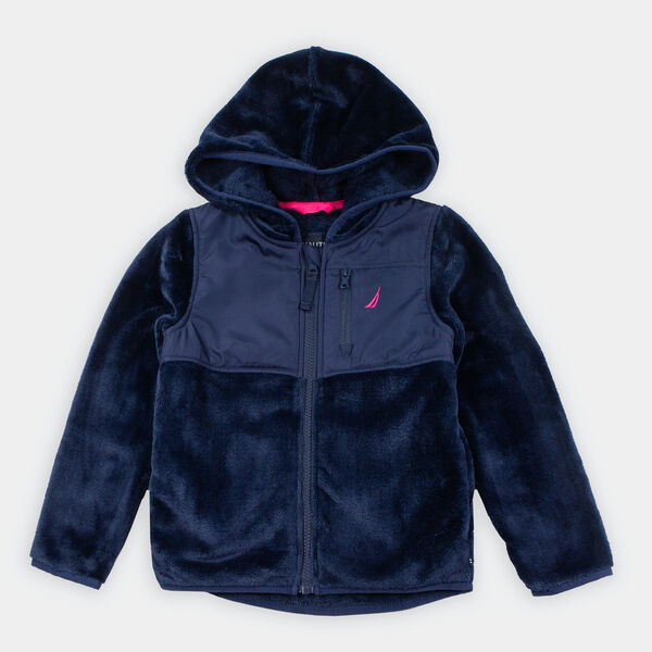 GIRLS' FAUX-FUR NAUTEX HOODED JACKET (8-20) - Navy