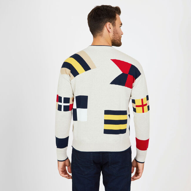 SIGNAL FLAG GRAPHIC CREWNECK SWEATER,Oatmeal Heather,large