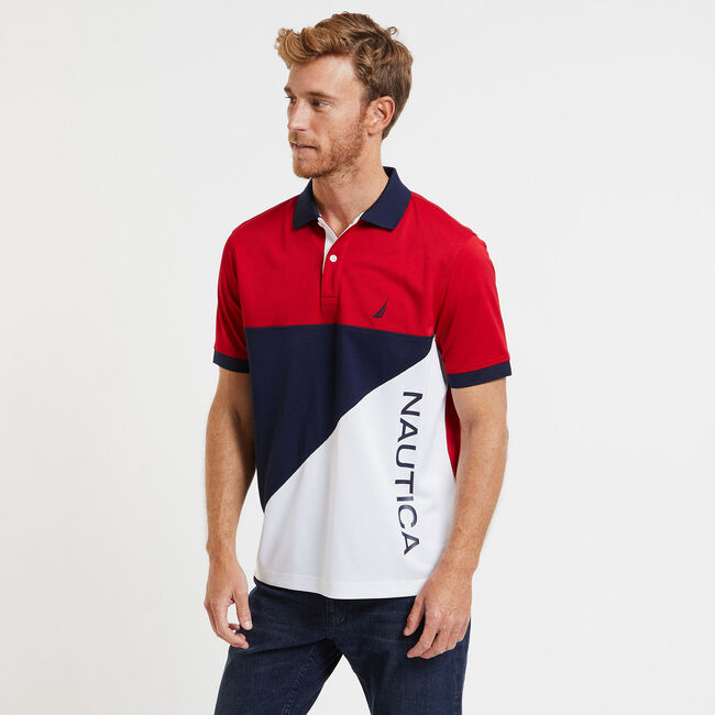 SHORT SLEEVE COLOR BLOCK PERFORMANCE POLO IN CLASSIC FIT,Bright White,large