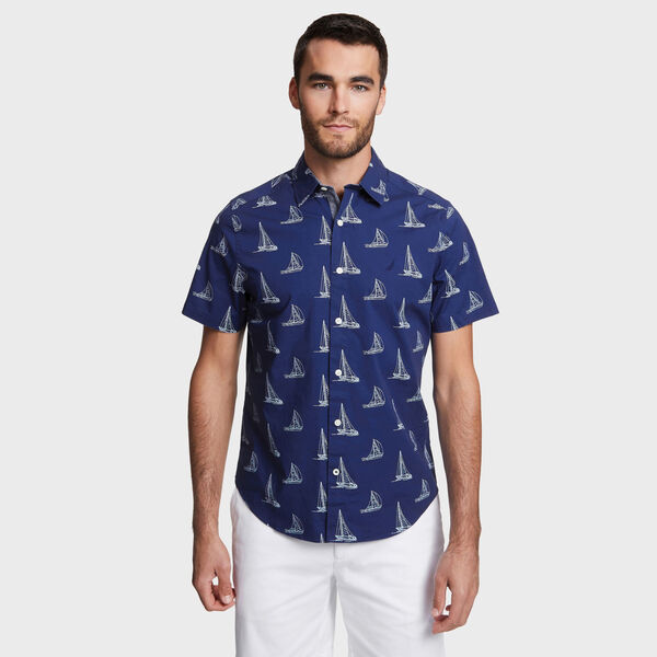 Classic Fit Stretch Short Sleeve in Sail Motif - Blue Depths