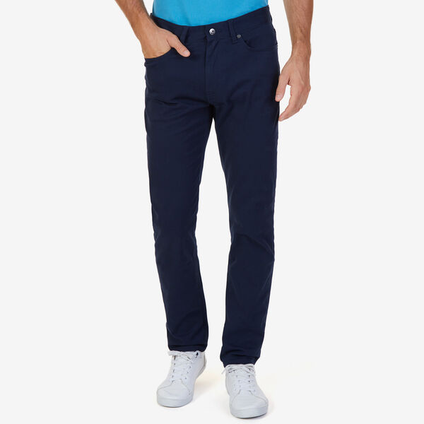 SLIM FIT STRETCH 5-POCKET PANTS - Navy