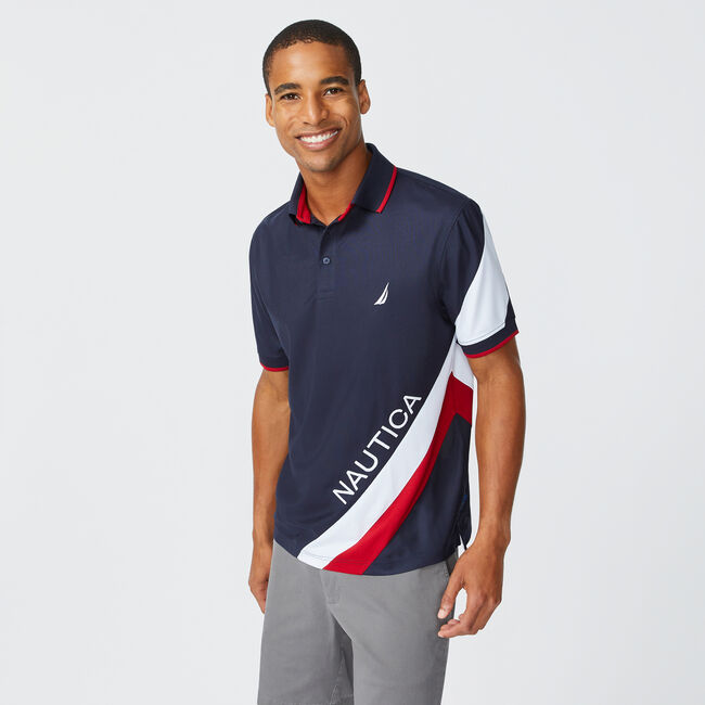 NAVTECH STRIPE AND LOGO GRAPHIC POLO,Navy,large