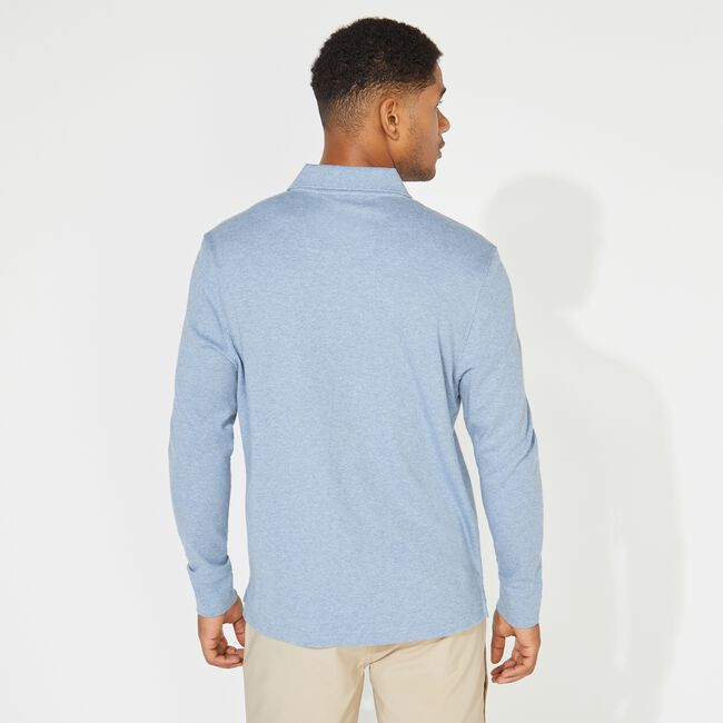 CLASSIC FIT LONG-SLEEVE POLO,Anchor Blue Heather,large