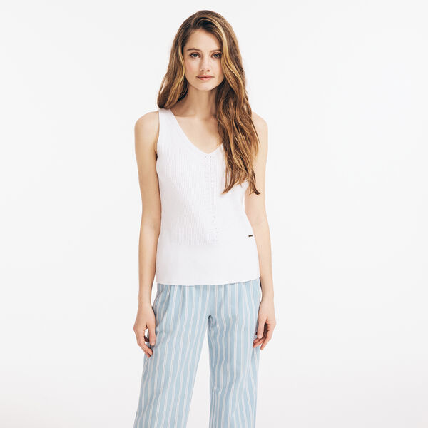 POINTELLE RIBBED TANK TOP - Bright White