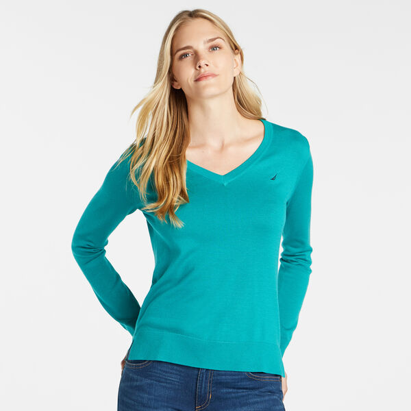 LONG SLEEVE SOLID V-NECK SWEATER - Juniper Green