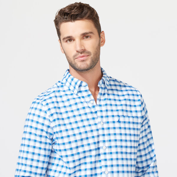 CLASSIC FIT STRETCH OXFORD IN PLAID - Clear Sky Blue