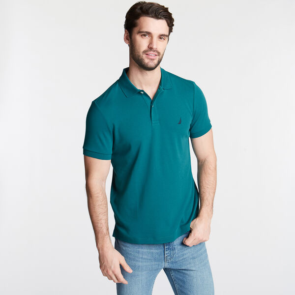Slim Fit Solid Interlock Cotton Polo - Shaded Spruce