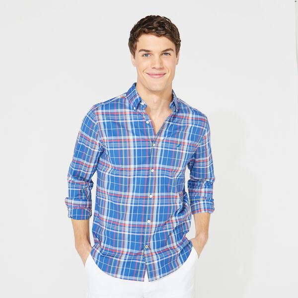 BIG & TALL NAVTECH PLAID SHIRT - Windsurf Blue