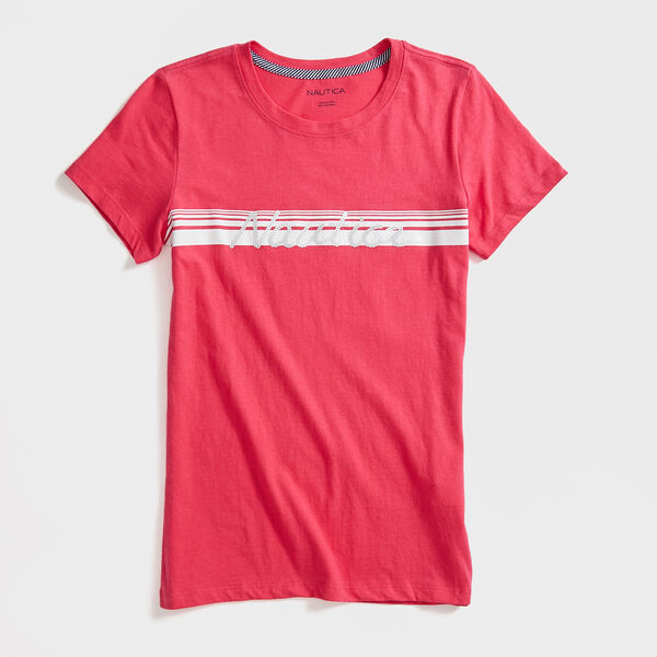 STRIPE SEQUIN LOGO T-SHIRT - Port Scarlet