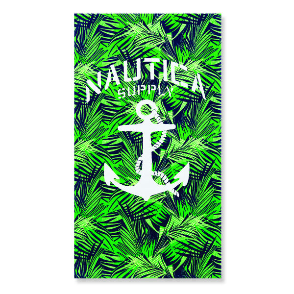 ANCHOR BEACH TOWEL IN AQUATIC MULTI STRIPE - Navy