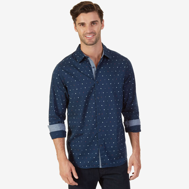 Classic Fit Marina Button-Down Shirt,Peacoat,large
