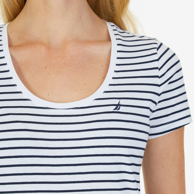 Striped Scoop Tee,Bright White,large