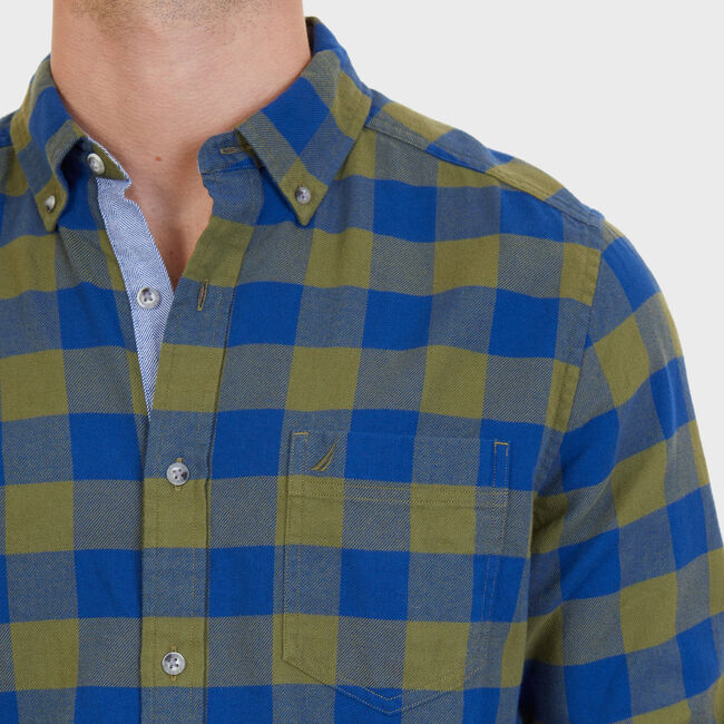 Classic Fit Buffalo Plaid Flannel Button Down,Green Spruce,large