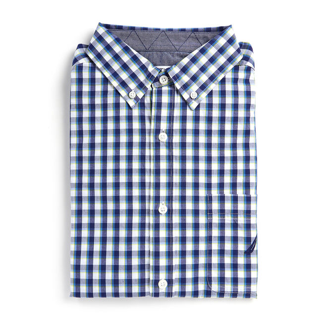 Long Sleeve Classic Fit Shirt in Plaid,Blue Depths,large