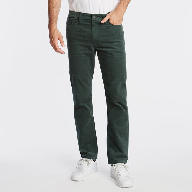 STRAIGHT FIT CORDUROY PANT WITH STRETCH,Pine,large