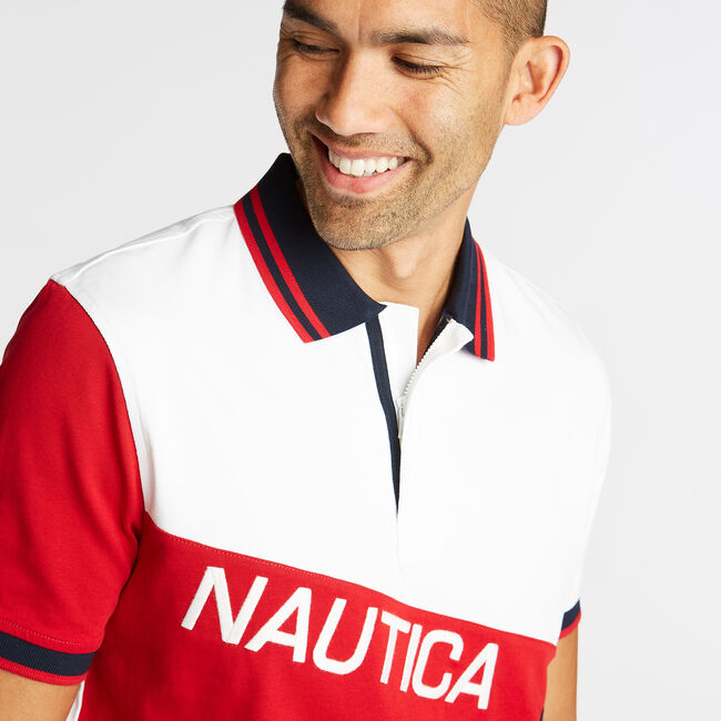 CLASSIC FIT JERSEY POLO IN DIAGONAL COLORBLOCK,Bright White,large