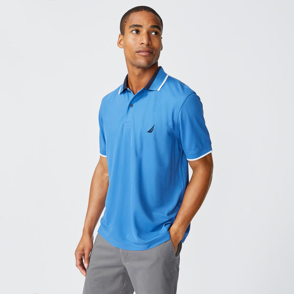 SUSTAINABLY CRAFTED COLORBLOCK COLLAR POLO - Nite Sea Heather