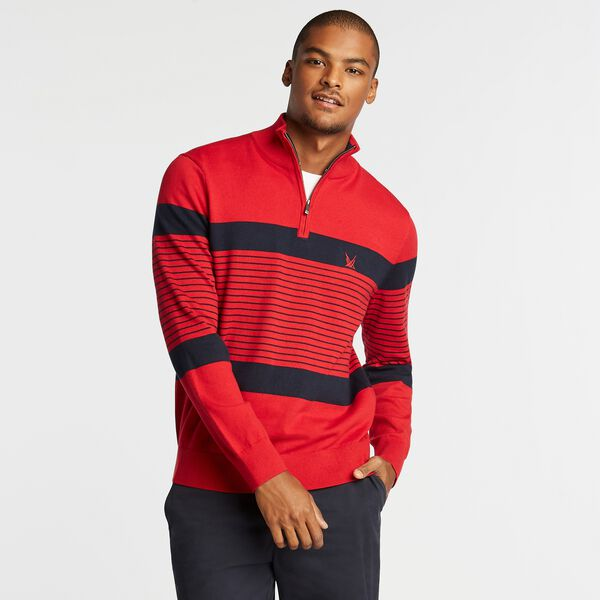 NAVTECH STRIPED QUARTER-ZIP SWEATER - Nautica Red