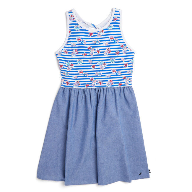 Toddler Girls' Striped + Floral Chambray Skirt Dress (2T-4T),Classic Blue,large