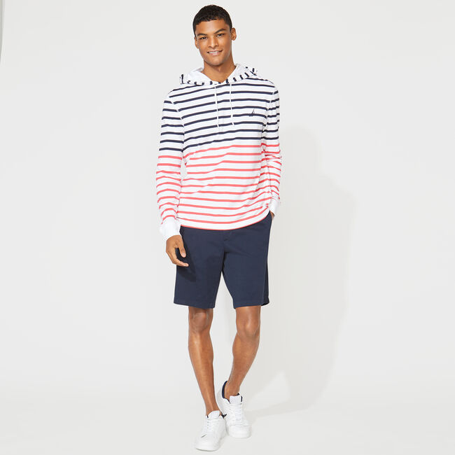 STRIPED T-SHIRT HOODIE,Bright White,large